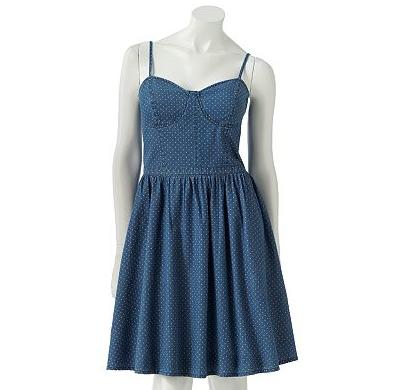 coachella dress: LC Lauren Conrad Fit & Flare Polka-Dot Bustier Dress sale $39.00 original $60.00