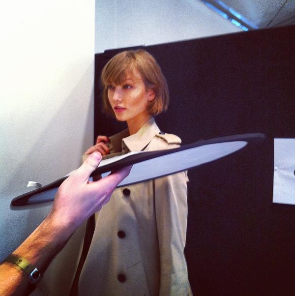 Karlie Kloss backstage at Burberry, taken on Fashionista_com Instagram