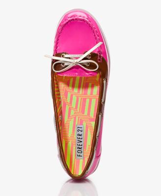 Faux Patent Boat Shoes