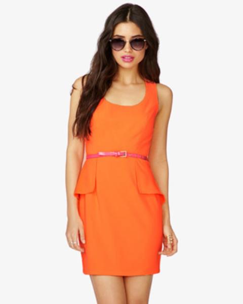 dress trends: neon, peplum