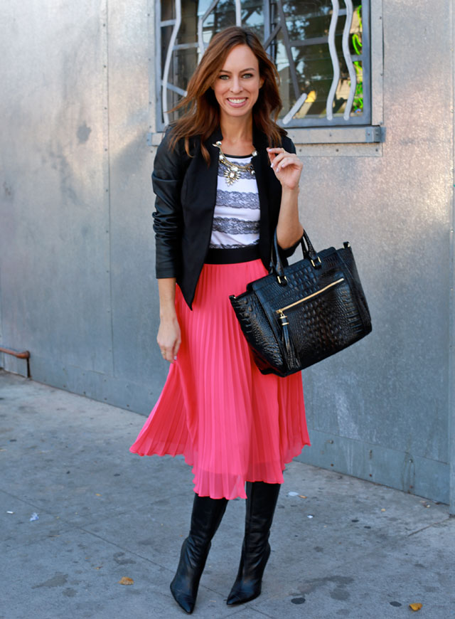 Sydne-Style-express-minus-the-leather-sleeve-blazer-fall-trends-2013-trend-guide-hot-pink-skirt-knee-high-boots-lace-tee-brahmin-bag