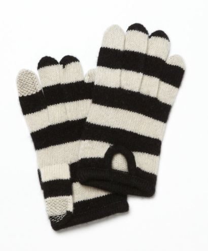 PORTOLANO Black And Ivory Striped Cashmere ITouch Gloves