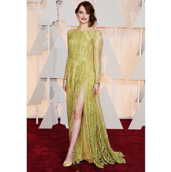 Emma Stone in Elie Saab at 2015 Oscars