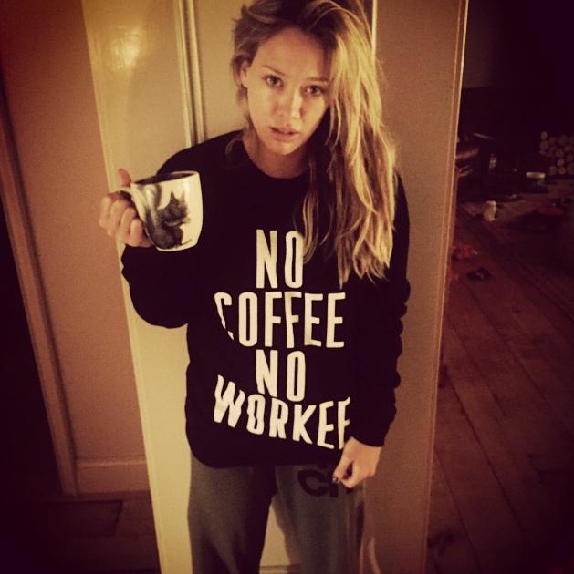 Hilary Duff No Coffee No Workee shirt