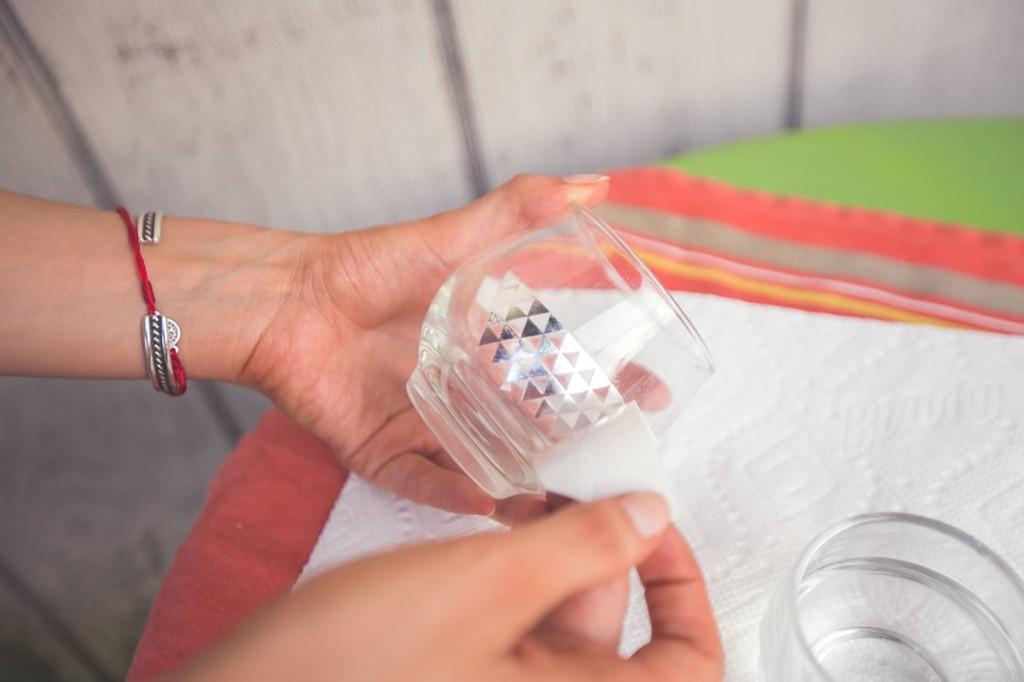 metallic detailed candle holder tutorial