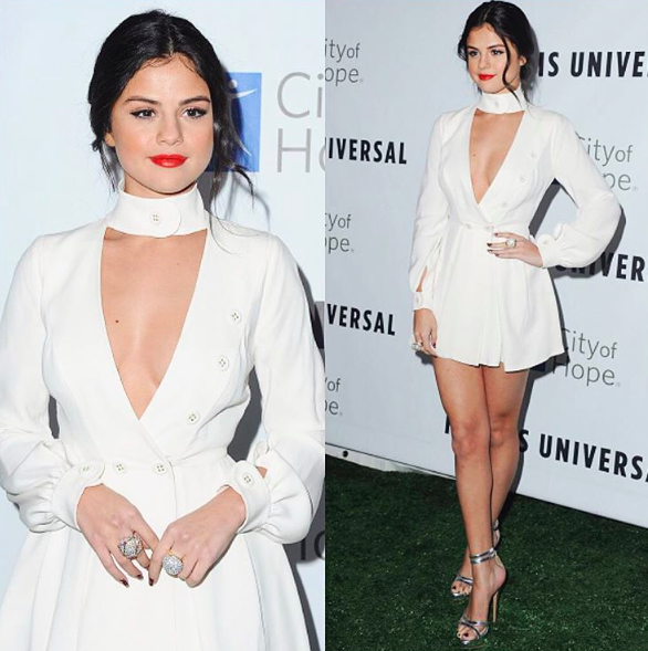 selena gomez little white dress 2015